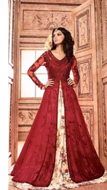Dashing Red Floral Lehenga Trouser Suit